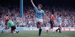Ian Bishop scoring for Manchester City against Manchester United in 1989